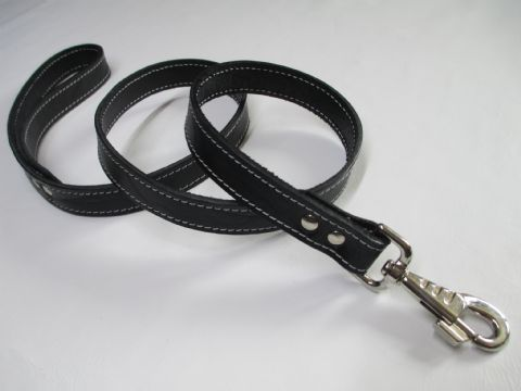 Black English Bridle Leather Leash with heavy duty trigger hook end